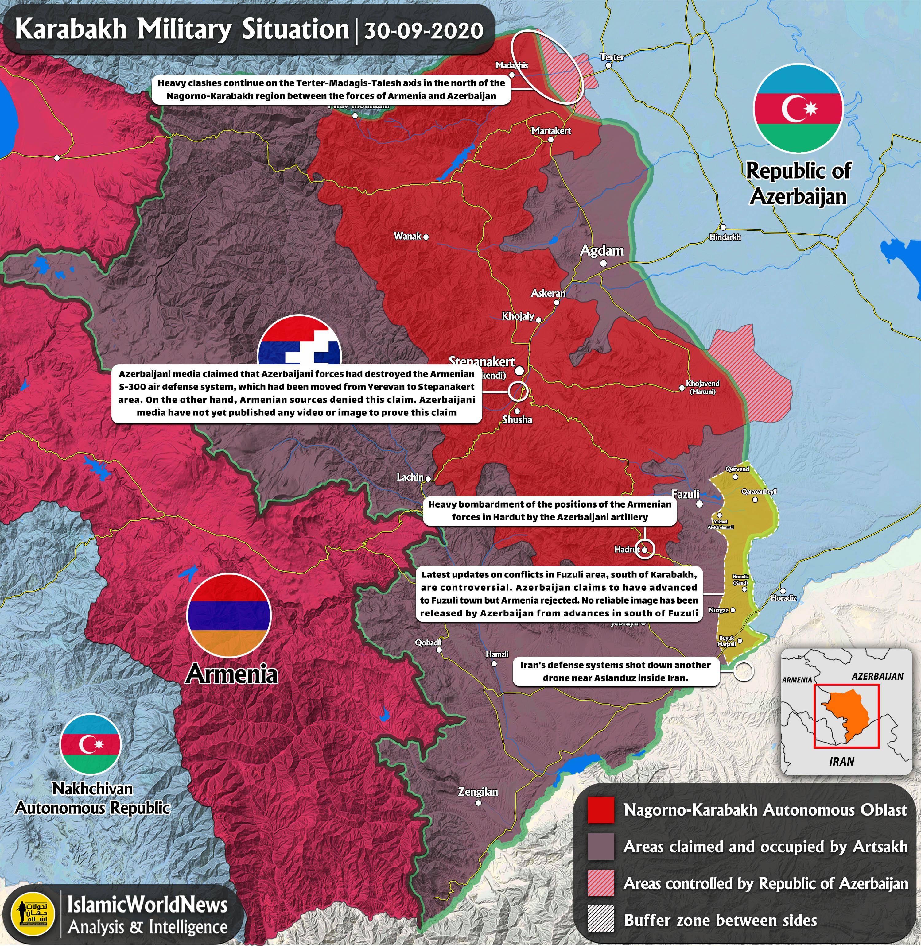 Latest Updates on Karabakh Clashes, 30 September 2020 (Map Update) – IWN
