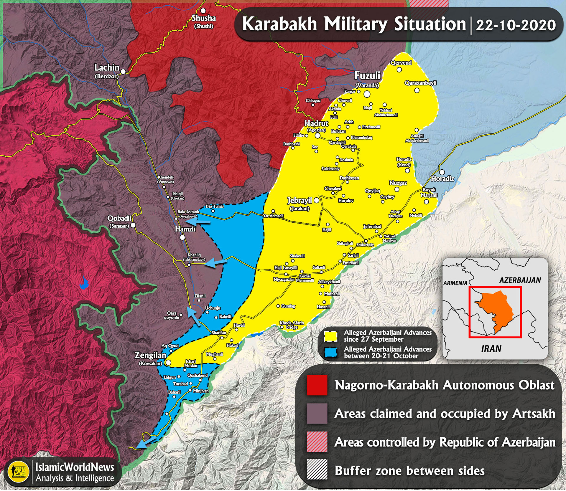 Picture of: Latest Updates On Karabakh Clashes 22 October 2020 Map Update Iwn